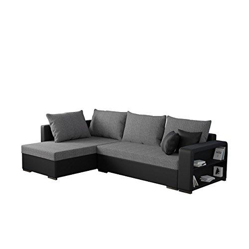 Mirjan24  Ecksofa Clovis, Moderne Eckcouch mit Schlaffunktion und Bettkasten, Ottomane Universal, Couch L-Form, Farbauswahl, Wohnlandschaft (Soft 011 + Florida 01)