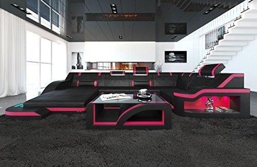 Leder Wohnlandschaft Palermo U Form schwarz-pink