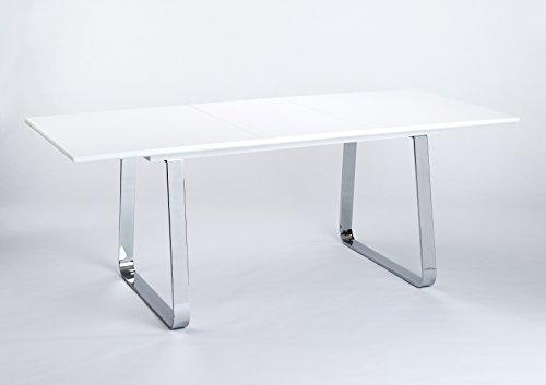 CAVADORE Esszimmertisch FELIX/Küchentisch ausziehbar/Moderner Esstisch in Hochglanz weiß/Untergestell Kufe verchromt/mit Auszug und 50cm Einlegeplatte/160 x 90 x 76 cm (L x B x H)