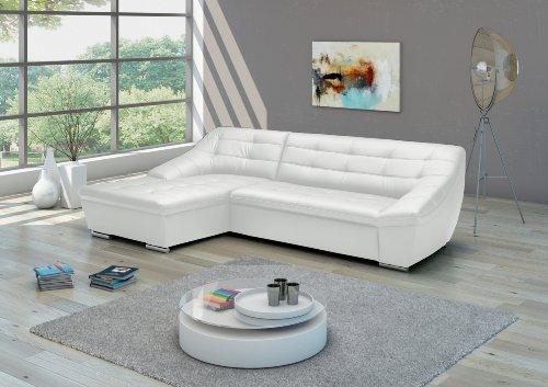 Cavadore Leder-Sofa Lucas / Couch in Echtleder mit Steppung / Longchair links / Größe: 287 x 81 x 165 (BxHxT) / Leder weiß