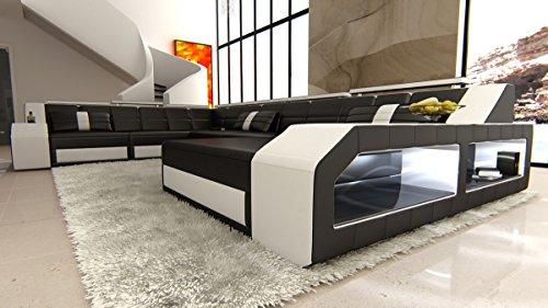 XXL Wohnlandschaft Matera XXL schwarz-weiss Sofa Couch Ecksofa Ledersofa Designersofa Ledercouch LED Licht beleuchtung Kopfstützen uvm.