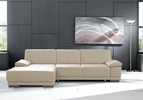 Cavadore3053  Ledersofa Corianne mit Schlaffunktion / Echtleder-Ecksofa in modernem Design / Inkl. beidseitiger Armteilverstellung, Longchair links und Bett / Größe: 282 x 80 x 162 (BxHxT) / Bezug: Echtleder weiß