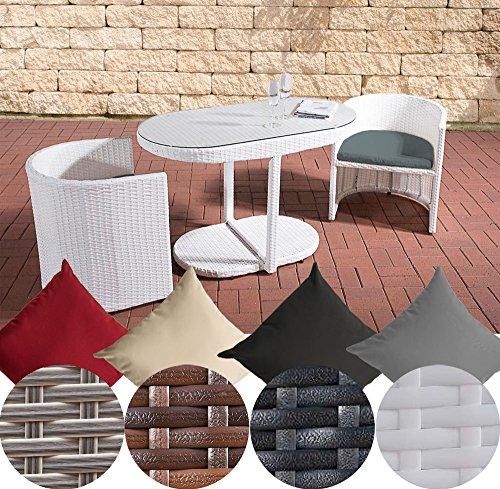 CLP Polyrattan-Gartengarnitur BAYAMO | Robuste Gartenmöbel mit Aluminiumgestell | 3 teiliges Garten-Set | In verschiedenen Farben erhältlich Rattan Farbe: Weiß, Bezugfarbe: Eisengrau