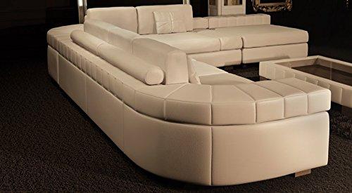 Ledersofa Sofagarnitur Couchgarnitur weiß Ledercouch 3-Sitzer + Daybed + XL Hocker Ecksofa Couch Design Sofa MÜNCHEN