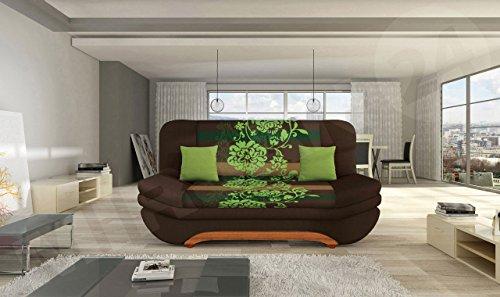 mirjan24 sofa weronika sving mit bettkasten und schlaffunktion bettsofa mit blumenmuster couch. Black Bedroom Furniture Sets. Home Design Ideas