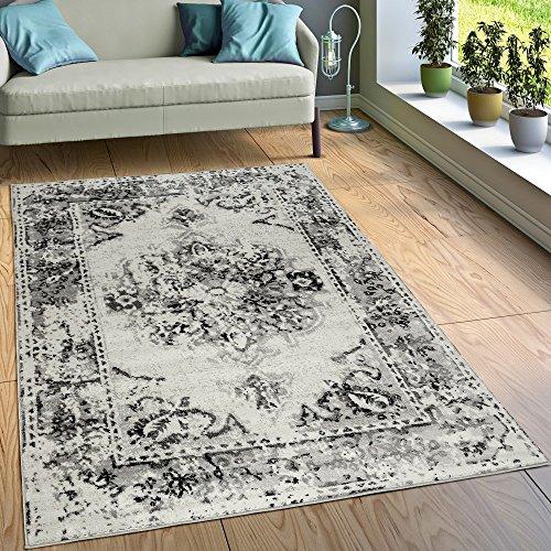 Paco Home Designer Teppich Kurzflor Wohnzimmer Vintage Look Modern In Grau Creme, Grösse:200x280 cm