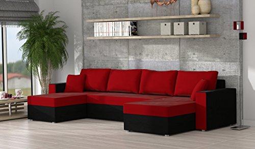 Mirjan24  Ecksofa Sofa Couchgarnitur Couch Rumba Style! Wohnlandschaft mit Schlaffunktion und Bettkasten, Ecksofa in U-Form, Polstermöbel, Farbauswahl, Kissen-set (Alova 04 + Alova 46)