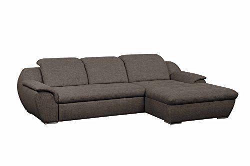 Cavadore Ecksofa Claanc mit großem Longchair und Bettfunktion / Braunes Eck-Sofa mit ausziehbarem Bett und großer Liegefläche / Praktische Kopfteilverstellung / 277x77x177 cm (BxHxT) / Braun