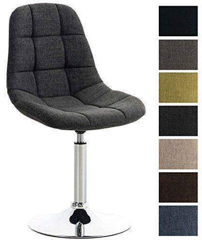 CLP Lounger EMIL mit Stoffbezug, Esszimmerstuhl mit gestepptem Sitz, Drehstuhl mit Trompetenfuß in Chromoptik, Dunkelgrau