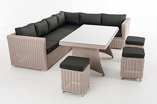 CLP Gartengarnitur SIENA   Sitzgruppe mit 8 Sitzplätzen   Gartenmöbel-Set aus Polyrattan   In verschiedenen Farben erhältlich Bezugsfarbe: Anthrazit, Rattanfarbe: Perlweiß