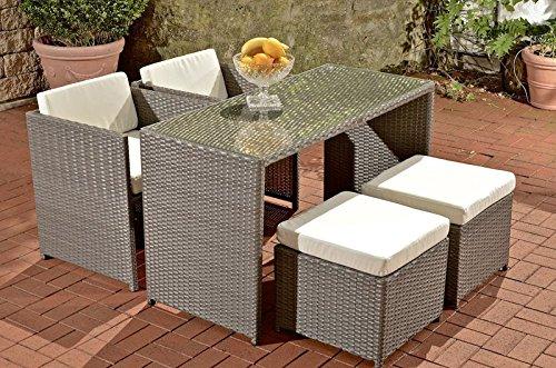 CLP Polyrattan-Gartengarnitur TAHITI   Sitzgruppe mit 4 Sitzplätzen   Komplett-Set mit 2 Stühlen, 2 Hockern und 1 Tisch   In verschiedenen Farben erhältlich Rattanfarbe: Grau, Bezugfarbe: Cremeweiß