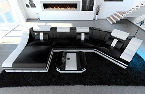 Leder Wohnlandschaft Turino C Form schwarz-weiss Sofa Ledersofa Couch Ledercouch Ecksofa LED Licht Kopfstützen Designersofa