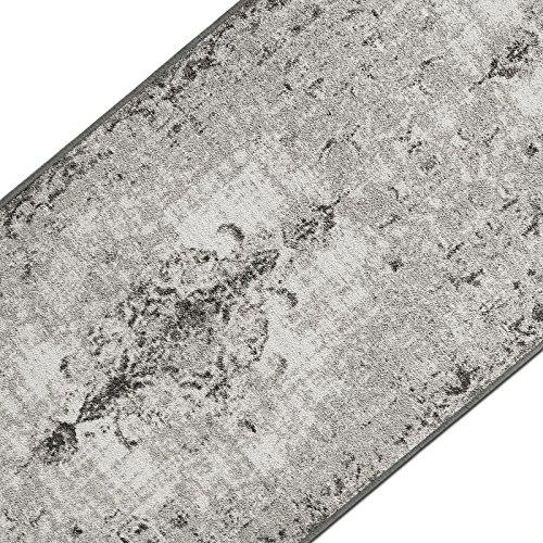 Teppichläufer im Vintage Look | brilliante Farben | hochwertige Meterware, gekettelt | Kurzflor Teppich Läufer | Küchenläufer, Flurläufer (Grau, 80x300 cm)