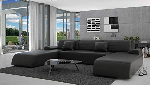 Wohn-Landschaft mit Schlaffunktion in schwarz 310x212 cm U-Form | Lavia-U | Sofa-Garnitur aus Kunstleder mit 2 Recamieren | Couch ausziehbar für Wohnzimmer schwarz 310cm x 212cm
