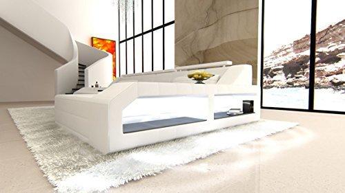 Ledersofa Arezzo L Form weiss-weiss Sofa Couch Ecksofa Designersofa Ledercouch Kopfstützen beleuchtung LED Licht uvm.