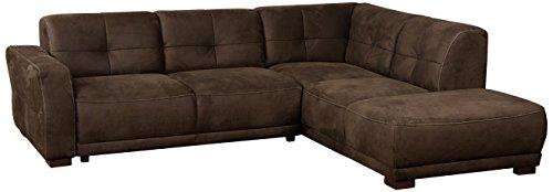 """Cavadore Ecksofa """"Modeo"""" / Sofa-Ecke mit Federkern und modernen Kontrastnähten / Hochwertiger Mikrofaser-Bezug in Wildlederoptik / Holzfüße / Maße: 261x77x214 cm (BxHxT) / Farbe: Mokka (dunkelbraun)"""