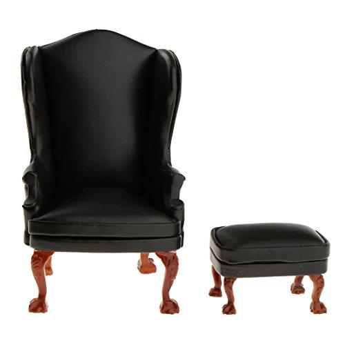 magideal 1 12 puppenhaus wohnzimmer ohrensessel sessel mit fu hocker m bel set schwarz m bel24. Black Bedroom Furniture Sets. Home Design Ideas