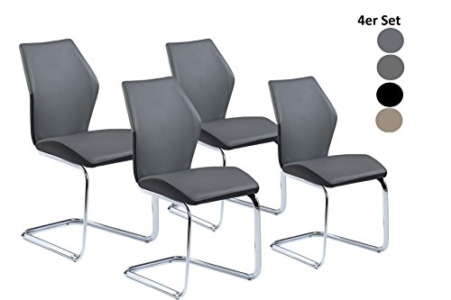 CAVADORE Schwingstuhl 4-er Set SNAP/4x Freischwinger in modernem Design/Bezug in Grau - seitliche Applikation Schwarz/Gestell verchromt/61 x 45 x 90 cm (T x B x H)
