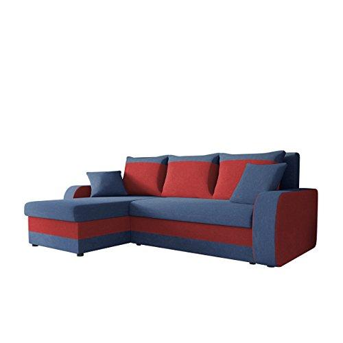 Ecksofa Kristofer, Design Eckcouch Couch! mit Schlaffunktion, Zwei Bettkasten, Farbauswahl, Wohnlandschaft! Bettfunktion! L-Form Sofa! Seite Universal! (Mikrofaza 0012 + Mikrofaza 0034)