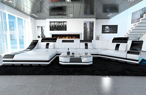 Leder Wohnlandschaft Turino C Form weiss-schwarz Sofa Ledersofa Couch Ledercouch Ecksofa LED Licht Kopfstützen Designersofa