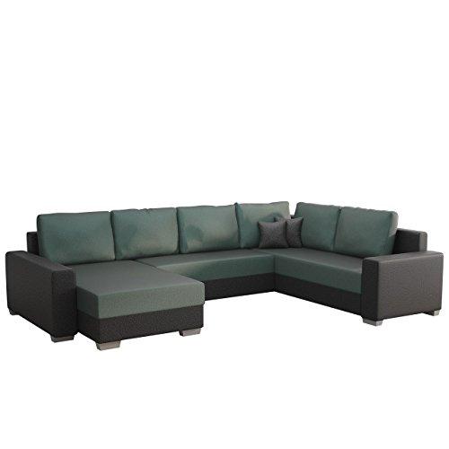 Ecksofa Tomasi SALE!, Elegante XXL Eckcouch mit Schlaffunktion und Bettkasten, Farbauswahl, Design U-Form Couch, Ecksofa, Wohnlandschaft (Ecksofa Links, Hippo Black + Elite Charcoal)