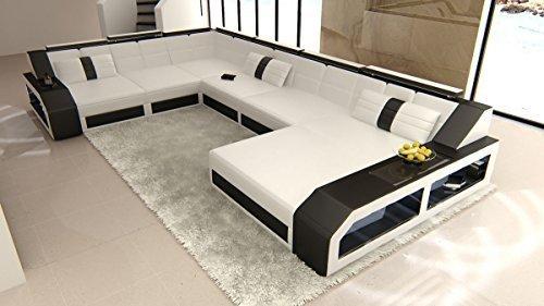 XXL Wohnlandschaft Matera XXL weiss-schwarz Sofa Couch Ecksofa Ledersofa Designersofa Ledercouch LED Licht beleuchtung Kopfstützen uvm.