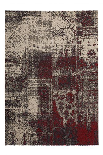 Switzerland - Lugano Rot Teppich Kurzfloor Flachfloor Vintage Shabby-Chic , Größe:200cm x 290cm, Farbe:Rot