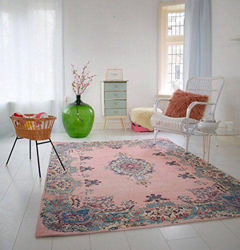 Pastell Vintage Teppich | im angesagten Shabby Chic Look | für Wohnzimmer, Schlafzimmer, Flur etc. | Pastell (225 x155 cm)