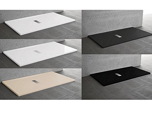 Duschtasse Du Custom aus Acryl mit Ablaufgarnitur Edelstahl Verschiedenen Abmessungen 120x90 schwarz