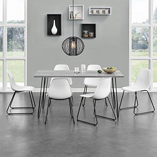 [en.casa]® Esstisch - Küchentisch Eszimmer Tisch Hairpin-leg - 160cm x 70cm x 75cm - Beton-Optik