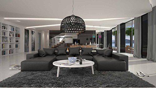 Wohn-Landschaft XXL mit Kunstleder Bezug 405x255 cm U-Form schwarz | Leesha | Moderne Sofa-Garnitur mit 2 Recamieren | XXL-Couch für Wohnzimmer schwarz 405cm x 255cm