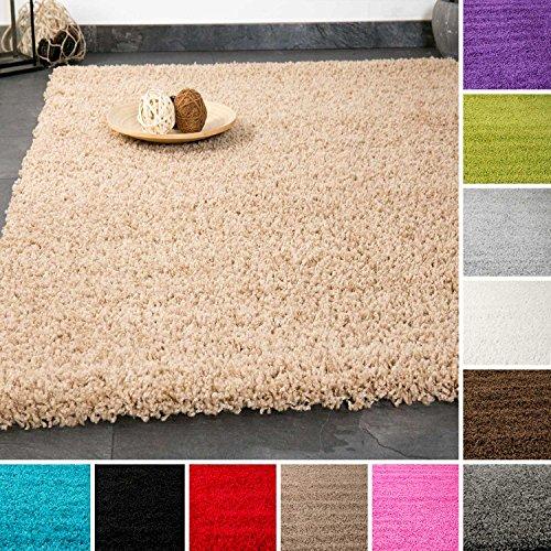 VIMODA prime1000 Shaggy Hoch-/Langflor Teppich, Modern für Wohn-/Schlafzimmer, Polypropylen, grau, 70 x 140 cm