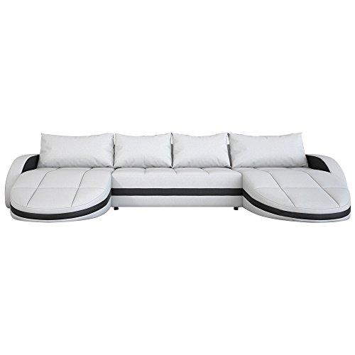 Wohnlandschaft weiß-schwarz in Leder-Optik: Edle Designer Couch mit LED, großer 4 Sitzer, 364 cm breit, Leder-Sofa mit zwei 156 cm tiefen Recamiere / Ottomanen, links & rechts   2 Eck-Sofa   Made in EU
