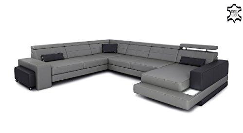 Xxl wohnlandschaft ledersofa grau schwarz leder eck sofa for Ledersofa u form