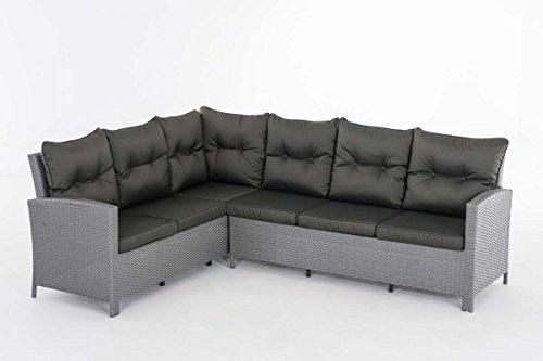 CLP Polyrattan-Gartensofa BERMEO inklusive Polsterauflagen   Sitzgruppe mit 6 Sitzplätzen   Ecksofa mit stabilem Untergestell aus Aluminium   In verschiedenen Farben erhältlich Rattanfarbe: Grau, Bezugfarbe: Anthrazit