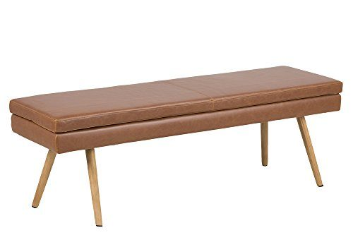 AC Design Furniture Trine Bank, Lederimitat, Cognac, 40,5 x 140 x 47,5 cm