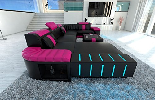 Leder Wohnlandschaft Bellagio U Form schwarz-pink