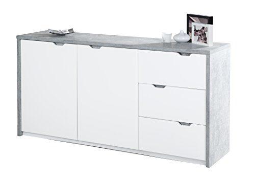 Phoenix Bruno Sideboard 2 Türen und 3 Schubladen, Holz, Beton, Weiss, 40 x 159.8 x 80 cm