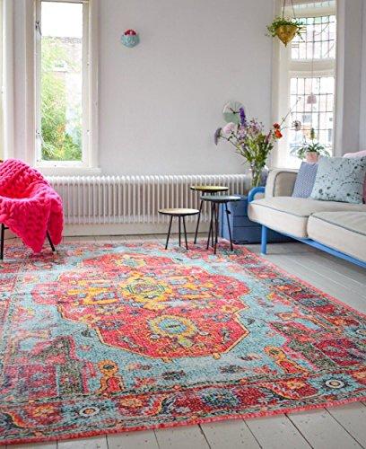 Rozenkelim.nl Vintage look Teppich | im angesagten Shabby Chic Look | für Wohnzimmer, Schlafzimmer, Flur etc. |(225 x 155 cm)