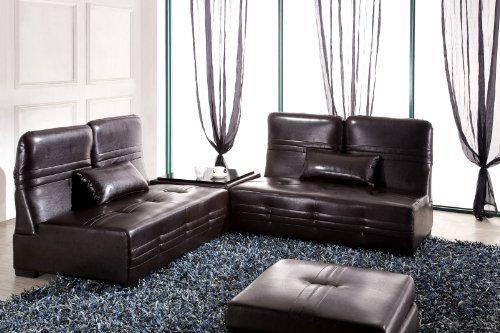 Designer Lederfaserstoff Garnitur Laura Braun Sofa Couchtisch Bettfunktion Ottomane Bett 9 in 1 Eckcouch Ecksofa Sofa Couch