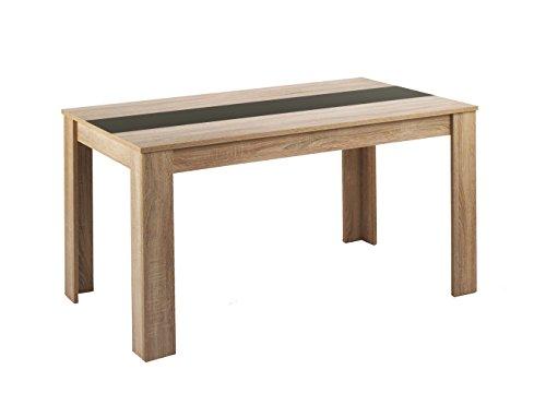 CAVADORE Esstisch NICO / Moderner, praktischer Küchentisch 180 x 90 cm in Melamin Sonoma Eiche mit Mittelplatte in weiß oder schwarz / Esszimmertisch in Hellbraun / 180 x 90 x 75 cm (L x B x H)