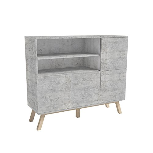 selsey vero wood sideboard kommode mit offenen f chern und dreht ren 120 cm beton optik. Black Bedroom Furniture Sets. Home Design Ideas