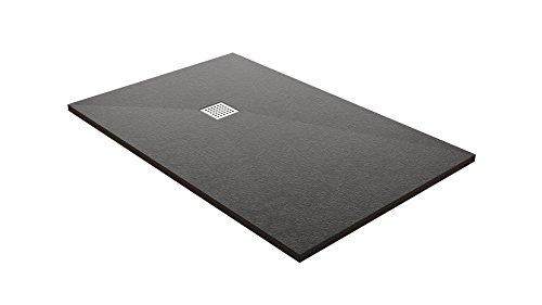 résidouche 14350Duschtasse flach Steinoptik, schwarz, 90x 120x 3,2cm