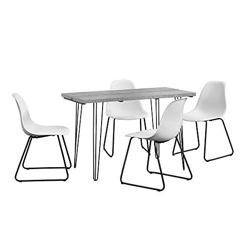 """[en.casa]® Esstisch [Beton-Optik] mit Hairpinlegs + 4 x Design-Stuhl """"Porto"""" [weiß] im Set"""