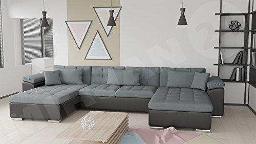 Ecksofa Wicenza Bris! Elegante Big Sofa mit Schlaffunktion Bettfunktion! Technologie Cleanaboo®, Schwerentflammbar, Wohnlandschaft! U-Form, Eckcouch Couch! (Soft 011 + Bristol 2446)