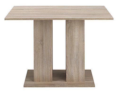 CAVADORE Esszimmertisch STEFANO / Moderner Esstisch mit Melamin-Beschichtung und Staufächer / Sonoma Eichenholz Optik / Mit Stauraum / 140x80x75 cm (LxBxH)