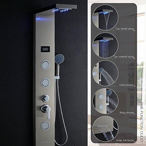 OBEEONR LED Duschset 304 Edelstahl Duschpaneel Duschsystem mit Handbrause und Regendusche Duscharmatur 1300mm Multifunktionales Wasser Armatur Duschsäule