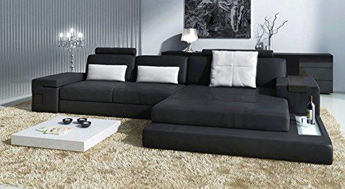 LEDERSOFA WOHNLANDSCHAFT L Form schwarz weiß HAMBURG III