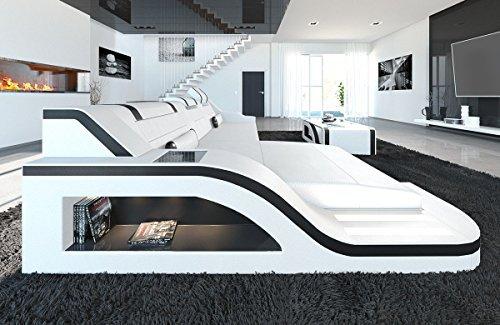 Ledersofa Palermo L Form weiss-schwarz