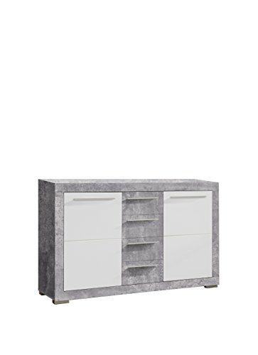 NEWFACE Atrium Sideboard, Holz, betonoptik / weiß glanz, 152.20 x 43.60 x 94.10 cm